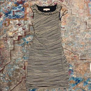 Loft cown neck stretch striped dress